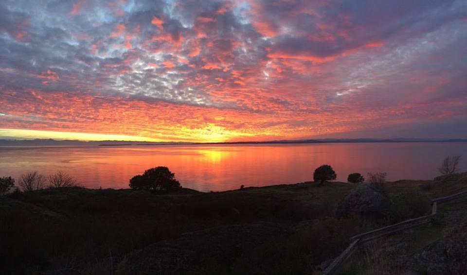 A sunset over San Juan Island